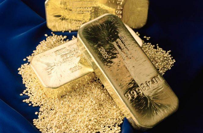Guldtacka och guldgranulat från Boliden